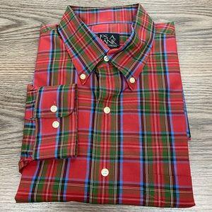 Jos A Bank Red Tartan Plaid Shirt L